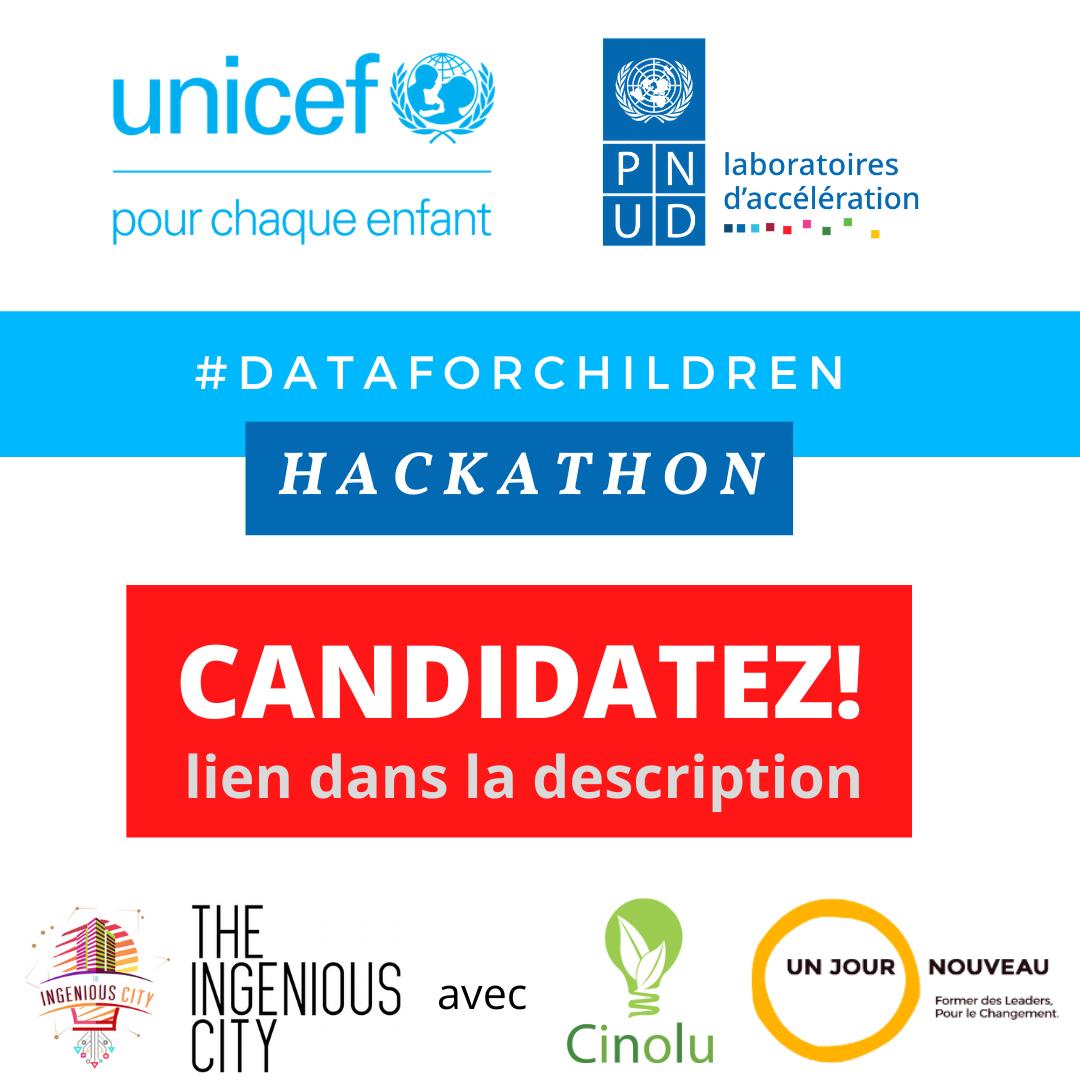 RDC : UNICEF et PNUD lancent un appel à candidatures au Hackathon #DATAFORCHILDREN mis en œuvre par Ingenious City 1
