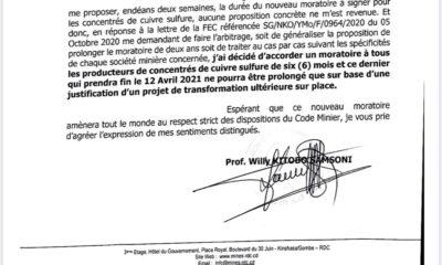 RDC : deux faiblesses légales du moratoire accordé aux miniers pour la transformation des minerais nécessitent d'être corrigées 97