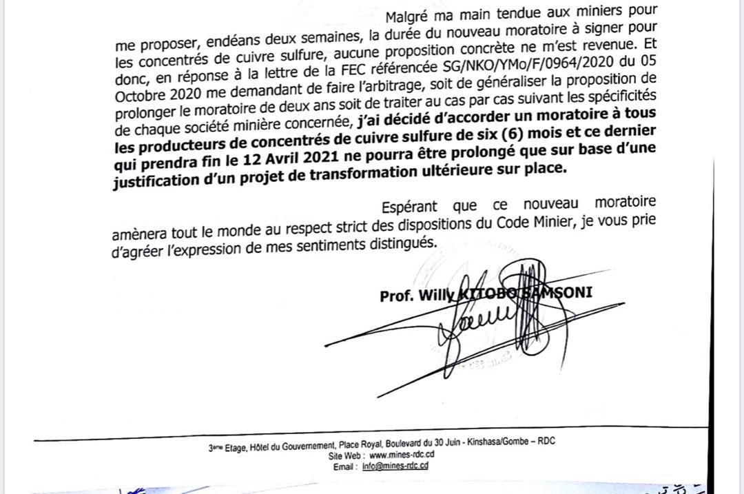 RDC : deux faiblesses légales du moratoire accordé aux miniers pour la transformation des minerais nécessitent d'être corrigées 1