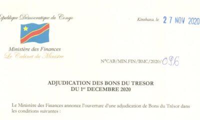 RDC : Bons du Trésor, 15 milliards CDF visés le premier décembre 2020 43