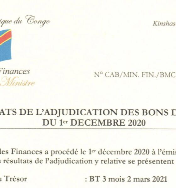 RDC : Bons du Trésor, 14,5 milliards CDF levés le premier décembre sur le marché intérieur des capitaux 6