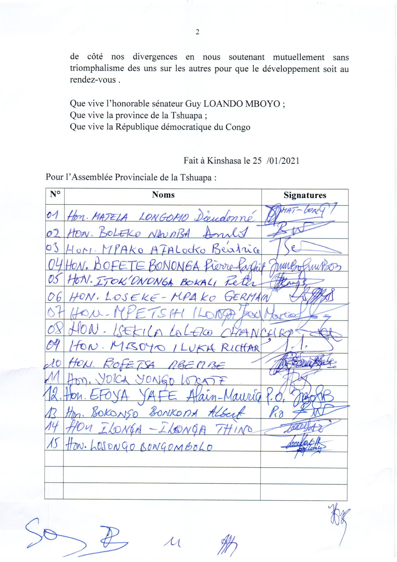 RDC : les élus de la Tshuapa réitèrent leur soutien à Félix-Antoine Tshisekedi et à Guy Loando ! 7