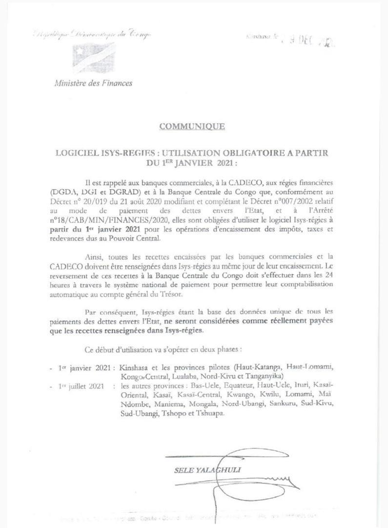 RDC : l'Etat rend obligatoire l'utilisation du logiciel Isys-Régies dans sept provinces 4