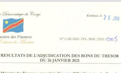 RDC : Bons du Trésor, seul 1 milliard de CDF levé sur les 20 milliards attendus le mardi 26 janvier 2021 89
