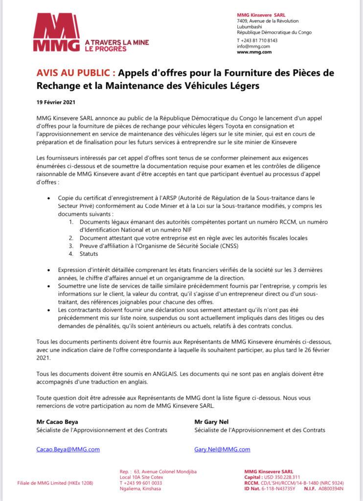 RDC : appel d'offres de MMG Kinsevere pour la fourniture des pièces de rechange et la maintenance des véhicules légers 4