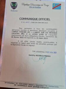 RDC : Kinshasa, l'échéance de paiement de l'impôt foncier et impôt sur les revenus locatifs reporté au 31 mars 2021! 4